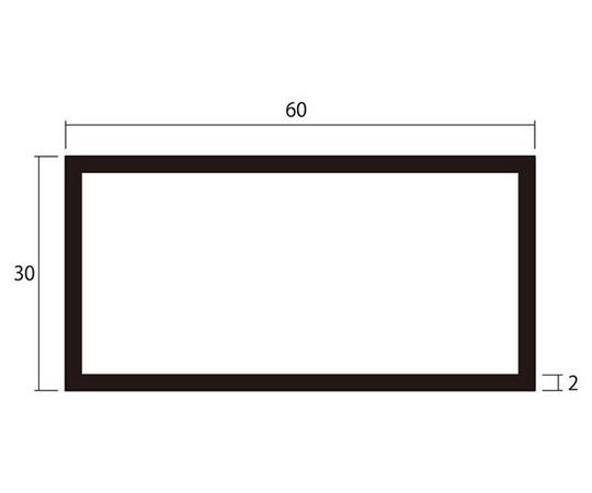 アルミ角パイプ 1m 2.0×30×60mm ブラック 4本組