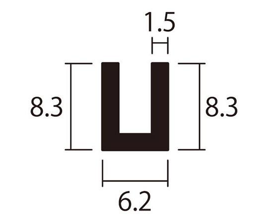 アルミチャンネル 1m 1.5×6.2×8.3mm シルバー 4本組