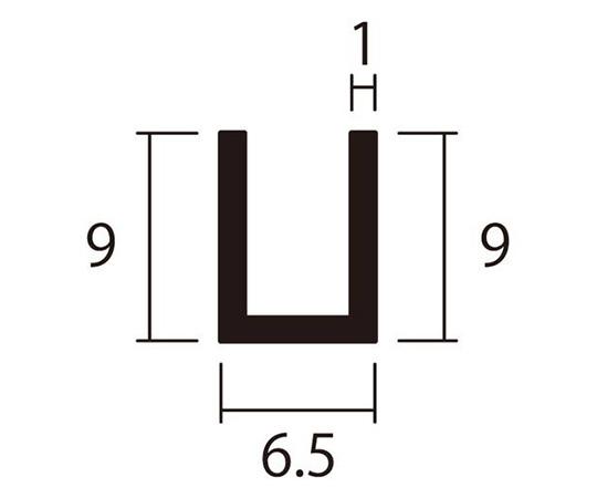アルミチャンネル 1m 1.0×6.5×9mm シルバー 4本組