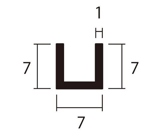 アルミチャンネル 1m 1.0×7×7mm シルバー 4本組
