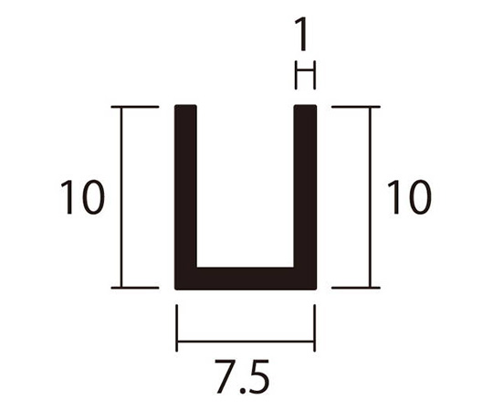 アルミチャンネル 1m 1.0×7.5×10mm シルバー 4本組