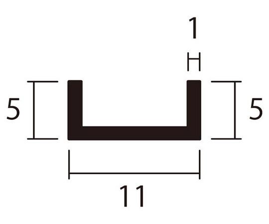 アルミチャンネル 1m 1.0×11×5mm シルバー 4本組