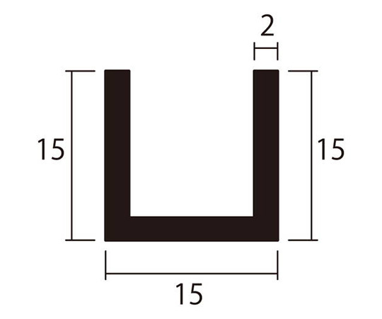 アルミチャンネル 1m 2.0×15×15mm シルバー 4本組