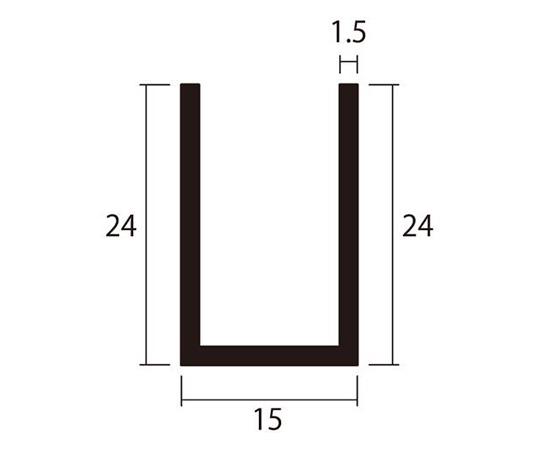 アルミチャンネル 1m 1.5×15×24mm シルバー 4本組