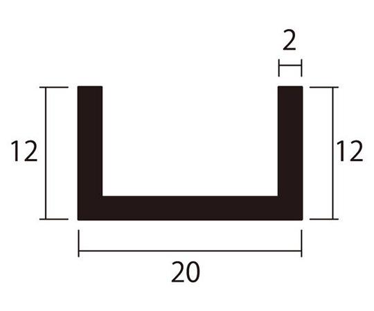アルミチャンネル 1m 2.0×20×12mm シルバー 4本組