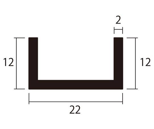 アルミチャンネル 1m 2.0×22×12mm シルバー 4本組