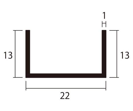 アルミチャンネル 1m 1.0×22×13mm シルバー 4本組