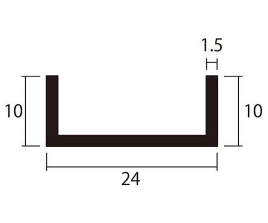 アルミチャンネル 1m 1.5×24×10mm シルバー 4本組