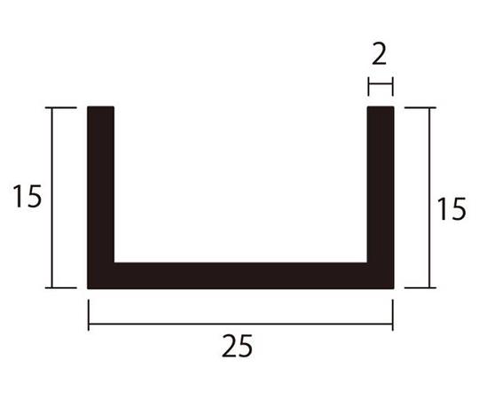 アルミチャンネル 1m 2.0×25×15mm シルバー 4本組