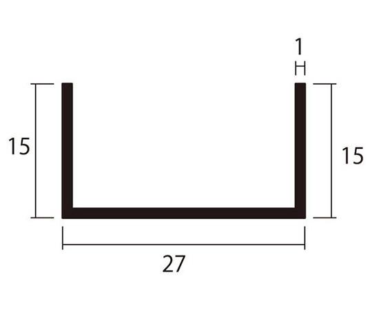 アルミチャンネル 1m 1.0×27×15mm シルバー 4本組
