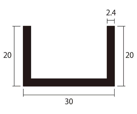 アルミチャンネル 1m 2.4×30×20mm シルバー 4本組
