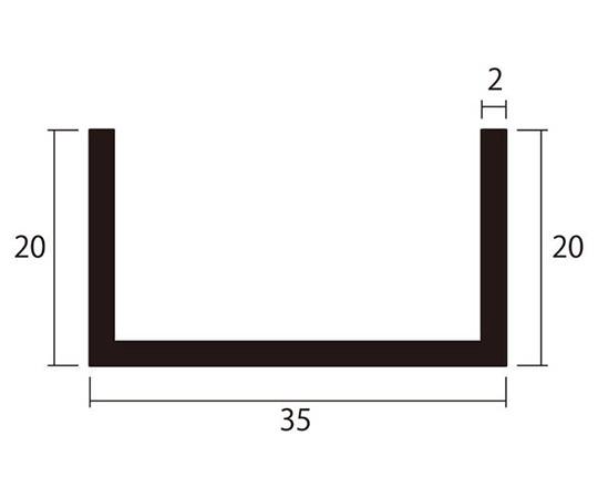 アルミチャンネル 1m 2.0×35×20mm シルバー 4本組
