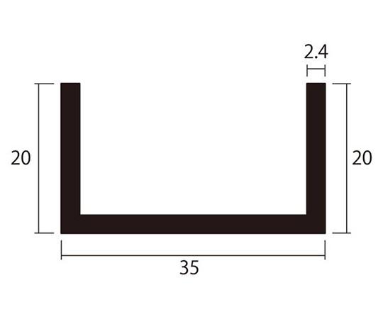 アルミチャンネル 1m 2.4×35×20mm シルバー 4本組
