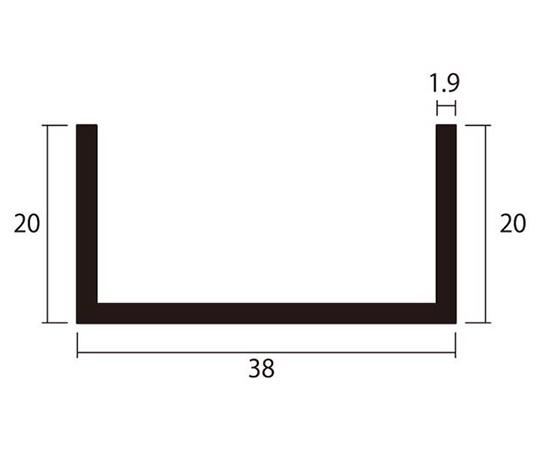 アルミチャンネル 1m 1.9×38×20mm シルバー 4本組