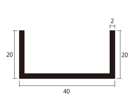 アルミチャンネル 1m 2.0×40×20mm シルバー 4本組
