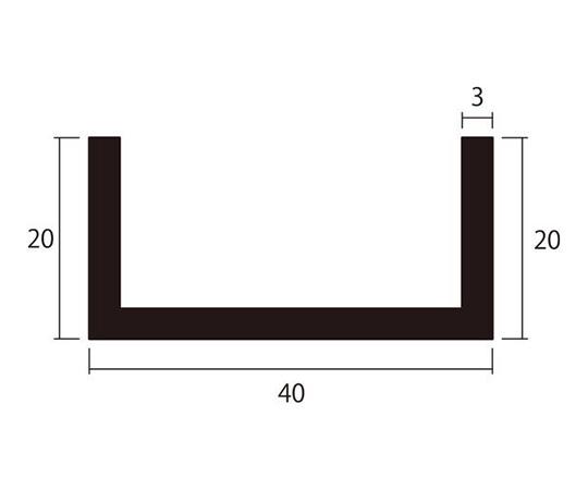 アルミチャンネル 1m 3.0×40×20mm シルバー 4本組