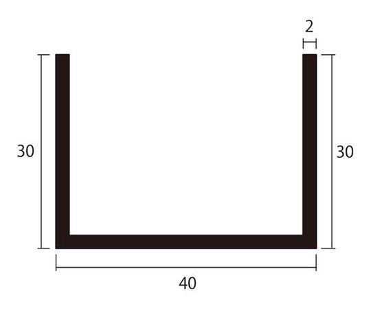 アルミチャンネル 1m 2.0×40×30mm シルバー 4本組