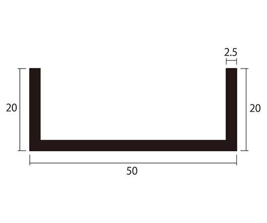 アルミチャンネル 1m 2.5×50×20mm シルバー 4本組
