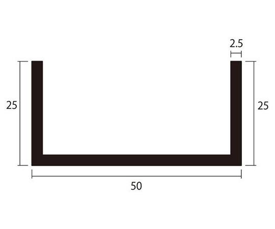 アルミチャンネル 1m 2.5×50×25mm シルバー 4本組