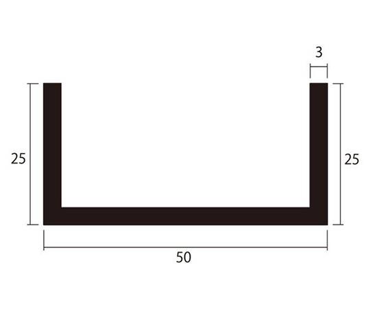 アルミチャンネル 1m 3.0×50×25mm シルバー 4本組