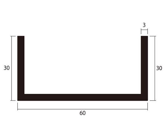 アルミチャンネル 1m 3.0×60×30mm シルバー 4本組