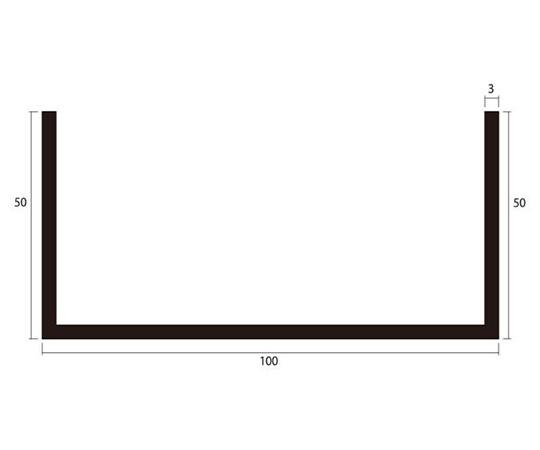アルミチャンネル 1m 3.0×100×50mm シルバー 4本組