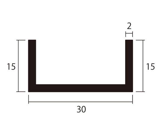 アルミチャンネル 1m 2.0×30×15mm ブラック 4本組