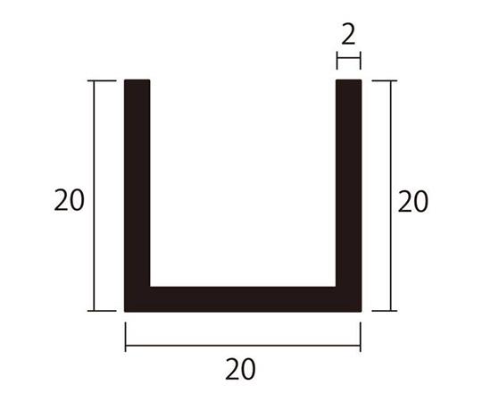 アルミチャンネル 1m 2.0×20×20mm ステンカラー 4本組