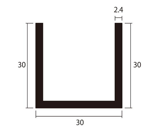 アルミチャンネル 1m 2.4×30×30mm ステンカラー 4本組