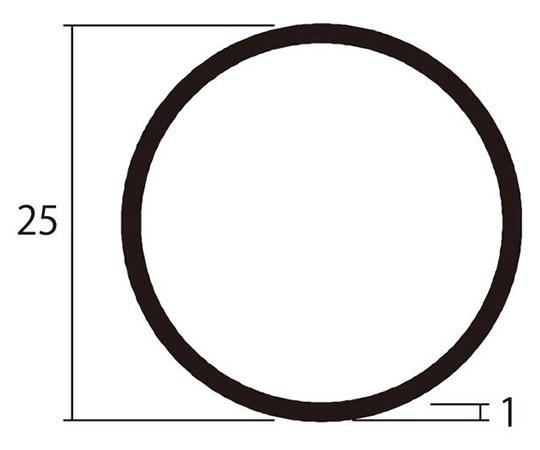 アルミ丸パイプ 1m 1.0×25mm シルバー 4本組