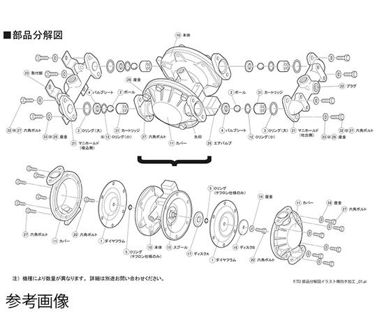 空気圧駆動式ダイヤフラムポンプ用メンテナンスパーツ