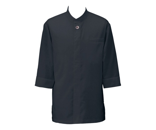 アゼック和風コートシャツ・シングル ブラック S SLB910-4