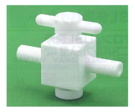USL-PTFE 洗浄2方コック (チューブ圧入用) 00Uシリーズ