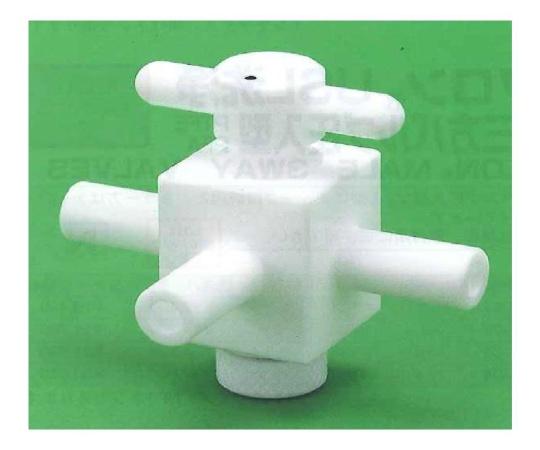 USL-PTFE 洗浄3方コック (チューブ圧入用)
