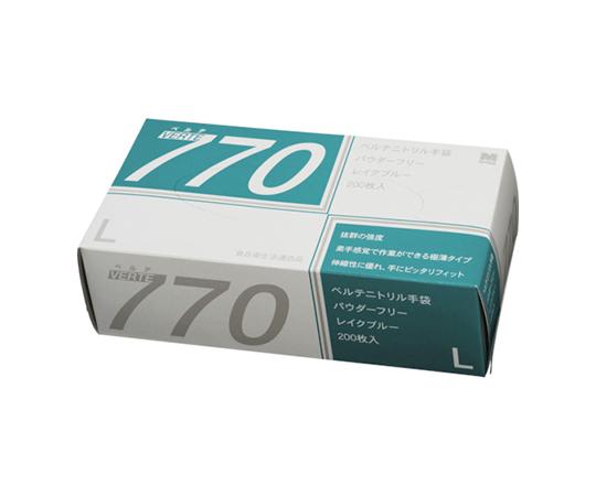 ニトリル使い捨て手袋 極薄 粉なし 青 L(200枚入) VERTE770L