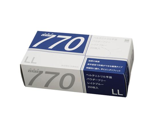 ニトリル使い捨て手袋 極薄 粉なし 青 LL(200枚入) VERTE770LL