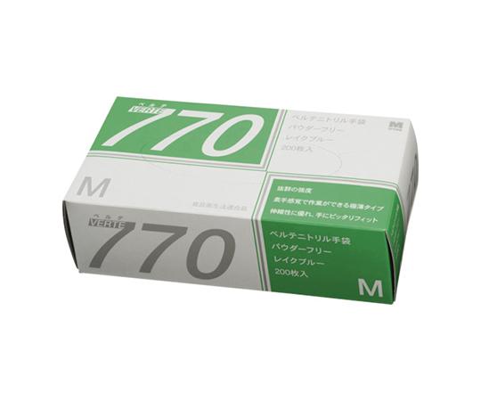 ニトリル使い捨て手袋 極薄 粉なし 青 M(200枚入) VERTE770M