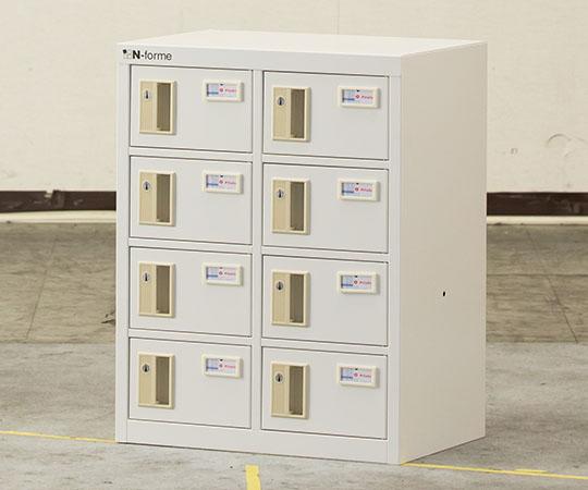貴重品ロッカー シリンダー錠タイプ ホワイト (2列4段) NKBS-0204