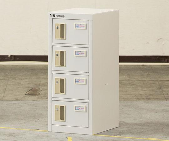 貴重品ロッカー シリンダー錠タイプ ホワイト (1列4段) NKBS-0104