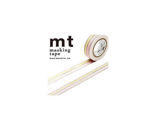 [取扱停止]マスキングテープ(mt) 15mm×10m巻 色えんぴつボーダー 1巻  001603332