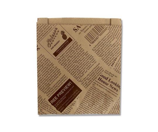 [取扱停止]耐油ガゼット袋 ニュースペーパーブラウン 24枚  007326431