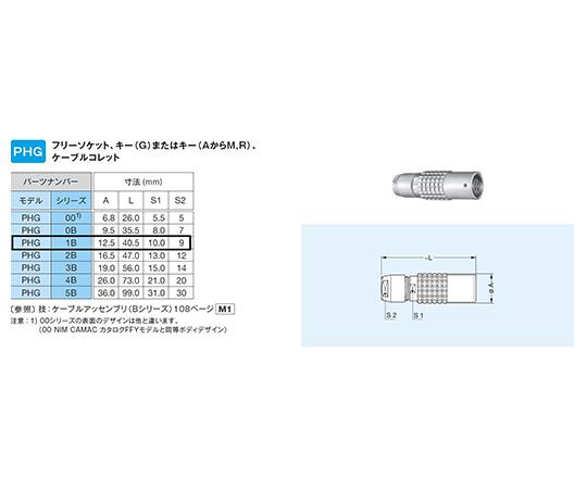 プッシュプル・小型・丸型・耐熱性 中継フリーソケット Bシリーズ  PHG.1B.302.CLLD62