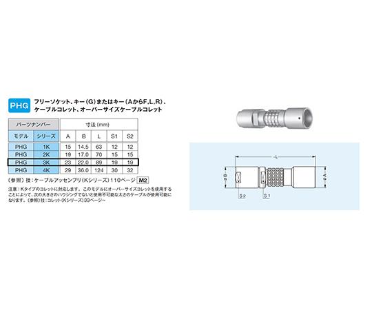 プッシュプル・耐環境用 小型防止・丸型固 中継フリーソケット Kシリーズ  PHG.3K.326.CLLC65