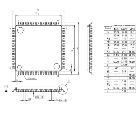 [取扱停止]RX600/RX630 MCU(100ピン)  R5F56308DDFP#V0
