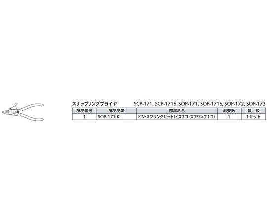直型 スナップリングプライヤ 軸用  SOP-1715