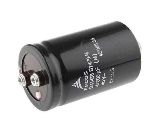 EPCOS 47000μF 40V dc Aluminium Electrolytic Capacitor, Chassis Mount 51.6 (Dia.) x 80.7mm +85°C 51.6mm B41458B7479M000