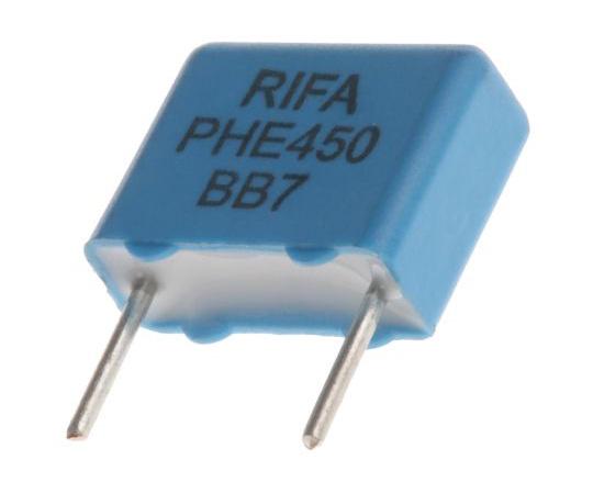 KEMET 10nF Polypropylene Capacitor PP 250 V ac, 400 V dc ±5% Tolerance Through Hole PHE450 Series PHE450KK5100JR05