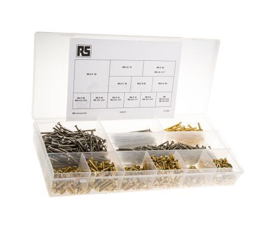 RS Pro Brass, Steel 1250 Piece Slot Drive Screw/Bolt, Nut & Washer Kit 100-226