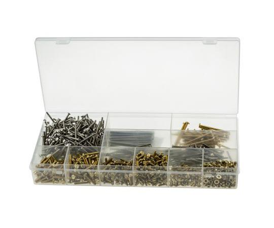 RS Pro Brass 1250 Piece Slot Drive Screw/Bolt, Nut & Washer Kit 100-298