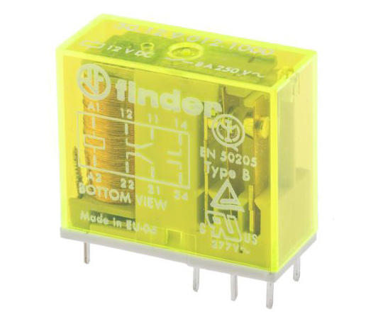 Finder50 Series DPDT Non-Latching Relay PCB Mount, 12V dc Coil, 8A 50.12.9.012.1000